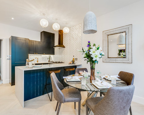 Inspiration For A Small Contemporary And Modern Kitchen Dining Room In London With White Walls
