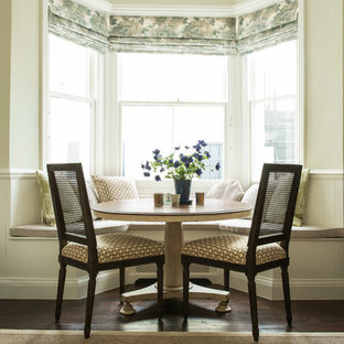 Design ideas for a small traditional dining room in London with green walls and dark hardwood flooring.
