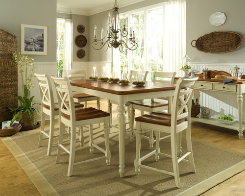 Superior Country Medium Tone Wood Floor Dining Room Photo In Charlotte With Gray  Walls