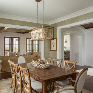 Coastal medium tone wood floor and brown floor dining room photo in Charleston with green walls and no fireplace