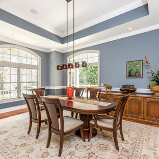 Elegant medium tone wood floor enclosed dining room photo in Tampa with blue walls and no fireplace