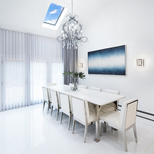 Dining Room   Contemporary White Floor Dining Room Idea In New York With  White Walls