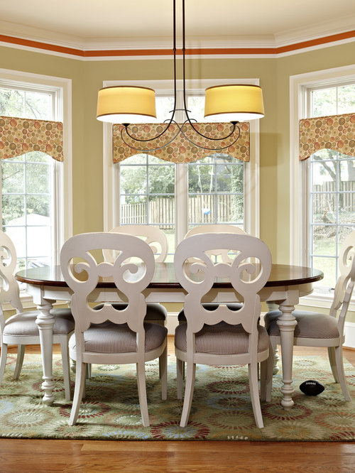 Inspiration for a timeless dark wood floor dining room remodel in DC Metro  with beige walls - Southwestern Window Valances Houzz