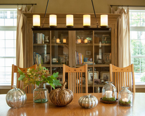 Fall Table Decorations Inspiration For A Farmhouse Dining Room Remodel In Cincinnati With Beige Walls