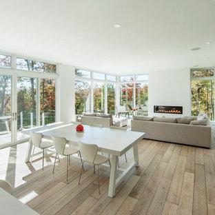Idée de décoration pour une très grande salle à manger ouverte sur le salon minimaliste avec un mur blanc, un sol en bois clair, une cheminée ribbon et un manteau de cheminée en plâtre.