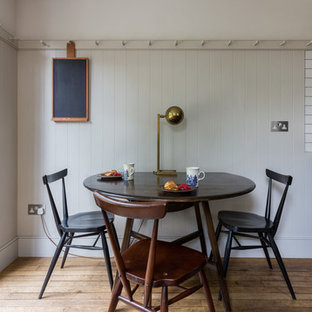 Design Ideas For A Small Victorian Kitchen Dining Room In London With Grey Walls