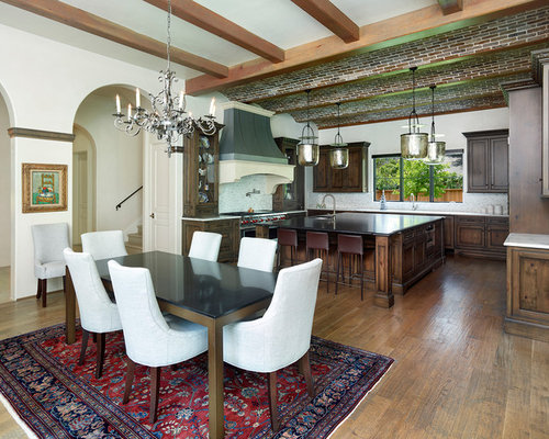Tuscan Medium Tone Wood Floor Kitchen Dining Room Combo Photo In Dallas With White Walls