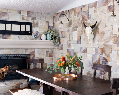 Farmhouse Dining Room Idea In Austin With Multicolored Walls A Standard Fireplace And Stone