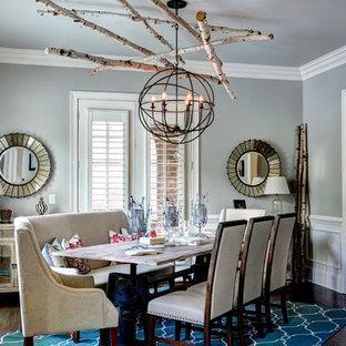 Trendy dark wood floor dining room photo in Atlanta with gray walls