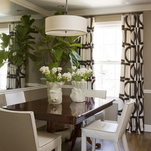 Dining room - transitional dark wood floor dining room idea in DC Metro with brown walls