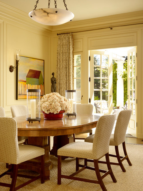 elegant dining room photo in san francisco with beige walls