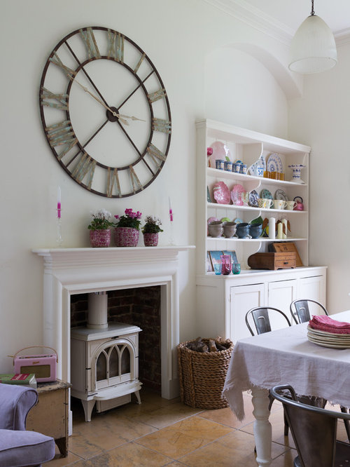 large wall clocks for living room. Example of a cottage chic dining room design in London with white walls and  wood Large Wall Clock Houzz