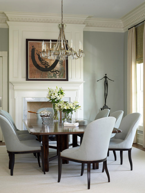 Inspiration For A Timeless Dining Room Remodel In Houston With Standard Fireplace And Gray Walls