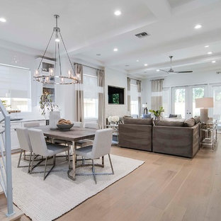 Example of a large beach style light wood floor great room design in Orlando