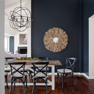 Inspiration for a large coastal kitchen/dining room in San Francisco with dark hardwood flooring and blue walls.