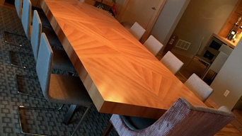 Giant cherry veneer expansion dining table