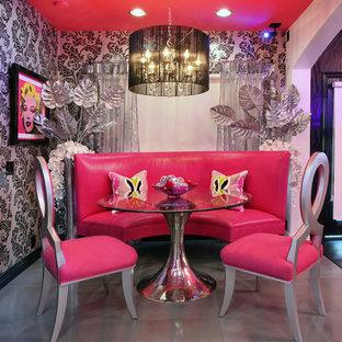 Пример оригинального дизайна: столовая в современном стиле с бетонным полом