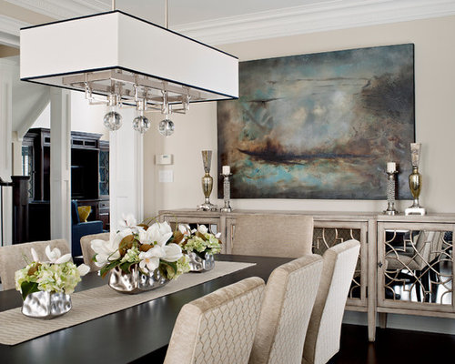 Inspiration For A Large Transitional Dark Wood Floor Dining Room Remodel In Toronto With Beige Walls