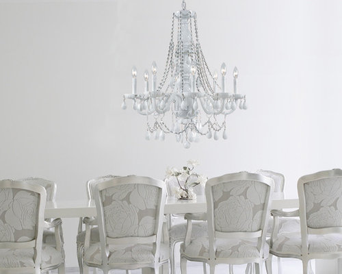 saveemail glamorous white crystal chandelier in transitional dining room