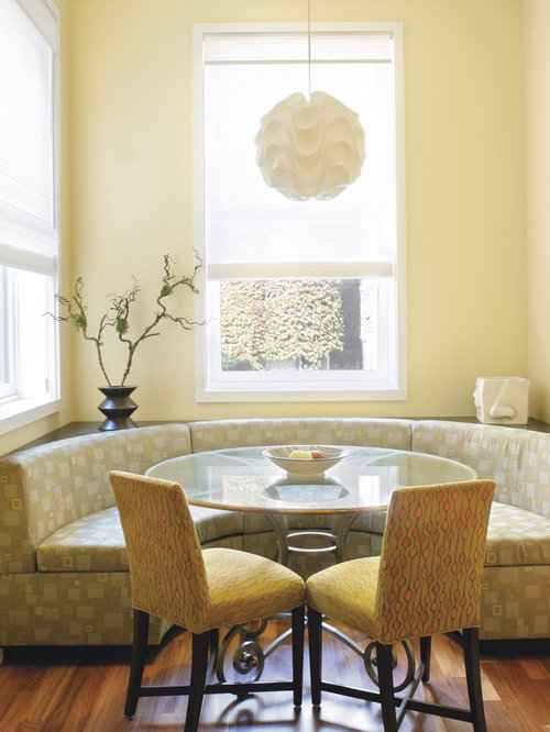 Mid Sized Trendy Medium Tone Wood Floor Dining Room Photo In New York With  Yellow