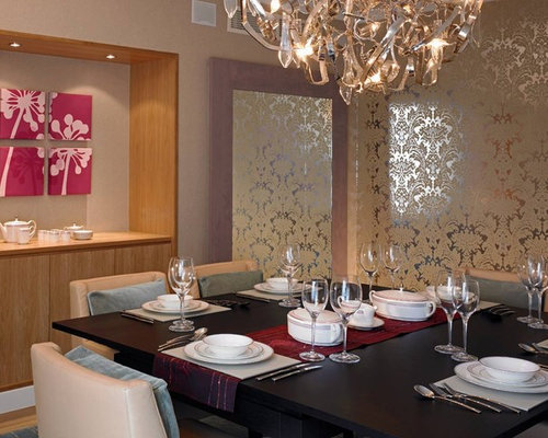 Foil wallpaper houzz - Dining room wallpaper accent wall ...