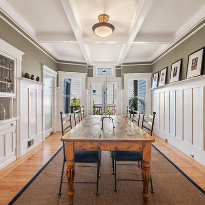 Enclosed dining room - large transitional light wood floor and beige floor enclosed dining room idea in San Francisco with gray walls and no fireplace