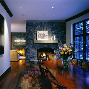 Dining room - traditional dining room idea in Denver with white walls