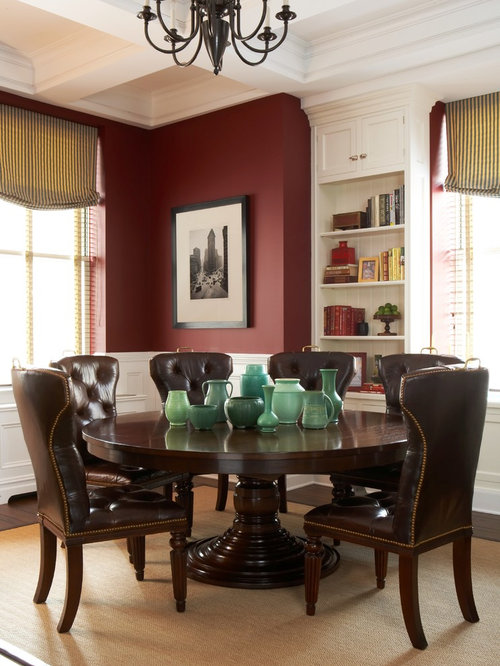 Example Of A Classic Dark Wood Floor Dining Room Design In New York With Red Walls