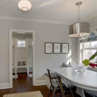 Dining room - contemporary dining room idea in Minneapolis with gray walls