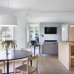 Esempio di una sala da pranzo aperta verso il soggiorno scandinava di medie dimensioni con pareti bianche, parquet chiaro, camino bifacciale, cornice del camino in intonaco e pavimento beige