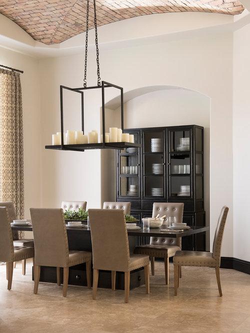Mediterranean Beige Floor Enclosed Dining Room Idea In Orlando With White Walls
