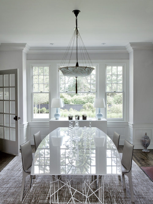 Wainscoting crown molding houzz for Dining room molding designs
