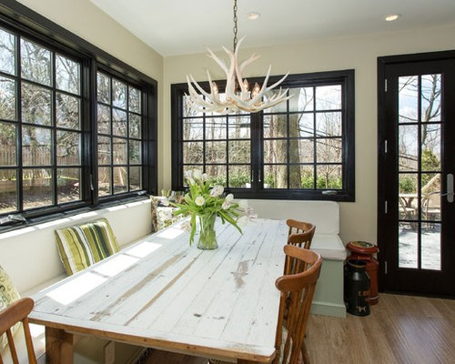 Inspiration For A Contemporary Dark Wood Floor Dining Room Remodel In New York With Beige Walls