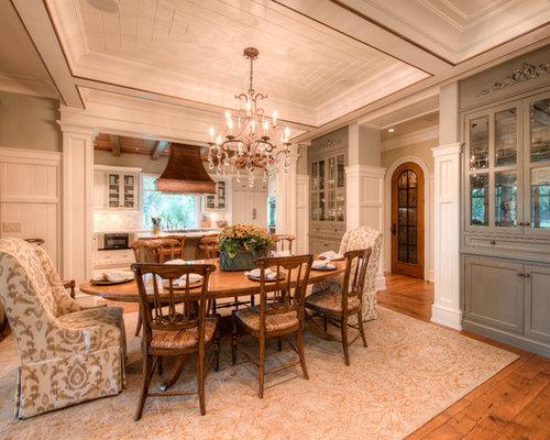 Elegant Kitchen Dining Combo Photo In Charleston With Gray Walls And Dark Hardwood Floors