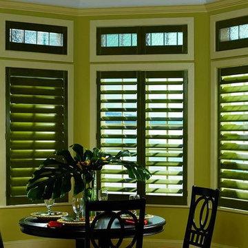 GREEN PLANTATION SHUTTERS - DARK GREEN WINDOW SHUTTERS - Lafayette Interior Fash