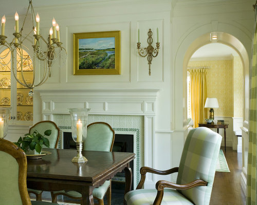 Elegant Enclosed Dining Room Photo In Boston With A Standard Fireplace And Tile