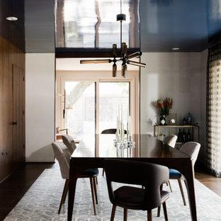 Неиссякаемый источник вдохновения для домашнего уюта: кухня-столовая среднего размера в стиле ретро с темным паркетным полом, двусторонним камином и потолком с обоями