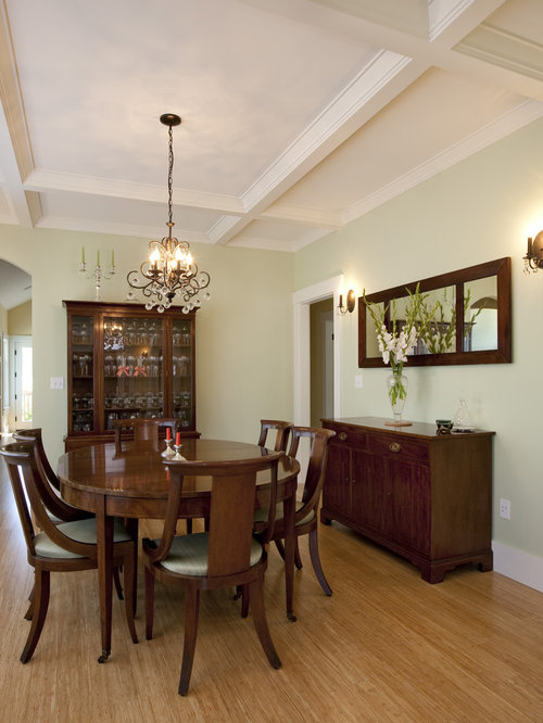 Charming Craftsman Medium Tone Wood Floor Dining Room Idea In Seattle With Green  Walls