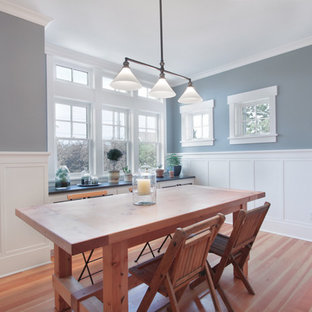 Mid-sized arts and crafts medium tone wood floor and brown floor kitchen/dining room combo photo in Seattle with gray walls and no fireplace