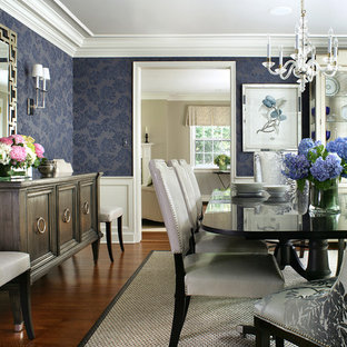 Great Inspiration For A Large Timeless Dark Wood Floor Enclosed Dining Room  Remodel In New York With