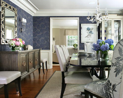 Navy blue dining room houzz for Navy dining room ideas