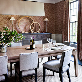 Inspiration for a transitional dark wood floor dining room remodel in New York with multicolored walls