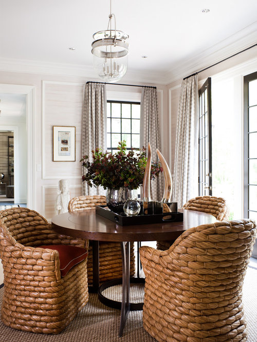 Charming Example Of A Transitional Dining Room Design In New York With Beige Walls Part 13