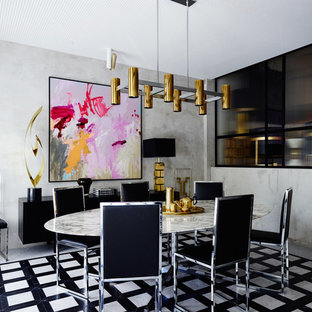 Photo of a mid-sized contemporary dining room in Sydney with grey walls and no fireplace.