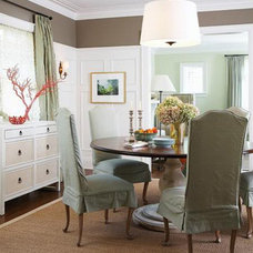 Traditional Dining Room Grey & Aqua