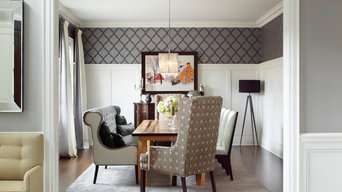 Grey and White with Orange touch Dining Room