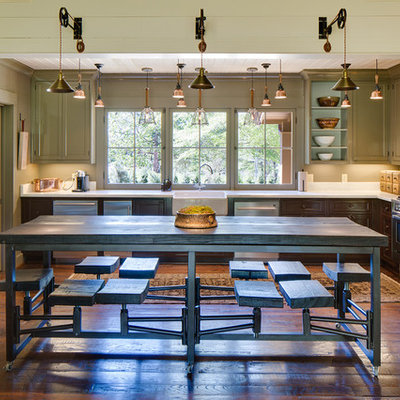 Mid-sized farmhouse dark wood floor and brown floor kitchen/dining room combo photo in Nashville with beige walls and no fireplace