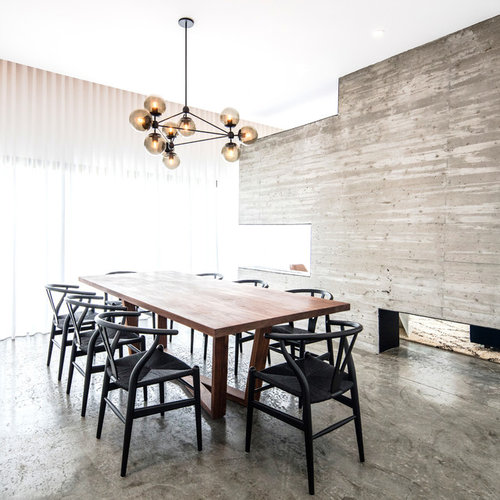 Inspiration For A Modern Concrete Floor And Gray Floor Dining Room Remodel  In Los Angeles With