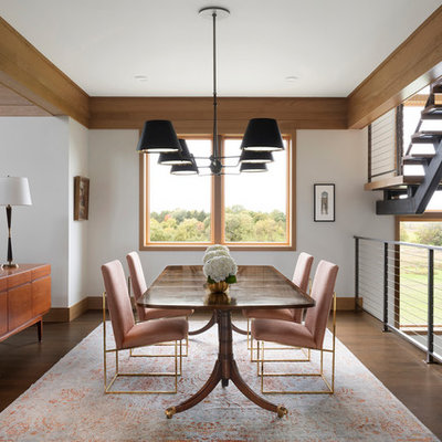 Great room - large contemporary dark wood floor and brown floor great room idea in Minneapolis with white walls and no fireplace