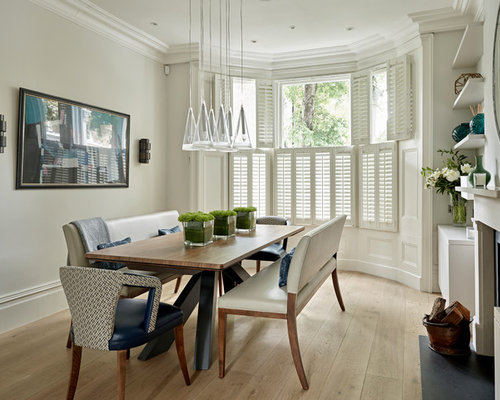 Design Ideas For A Medium Sized Traditional Enclosed Dining Room In London With Grey Walls